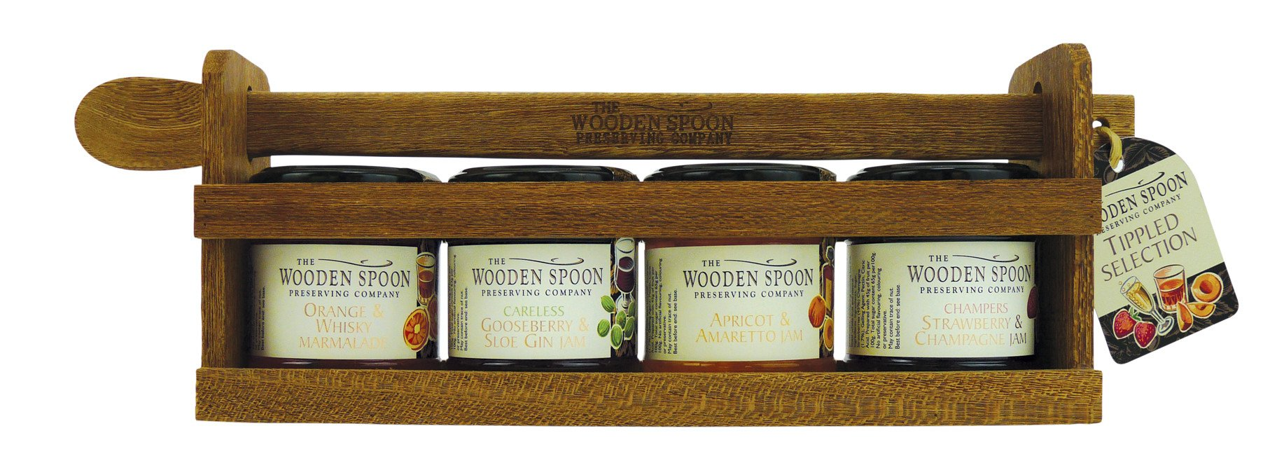 Tippled Selection:Strawberry & Champagne Extra Jam, Apricot & Amaretto Extra Jam, Orange & Whisky Marmalade, Gooseberry & Sloe Gin Extra Jam 4 x 113g