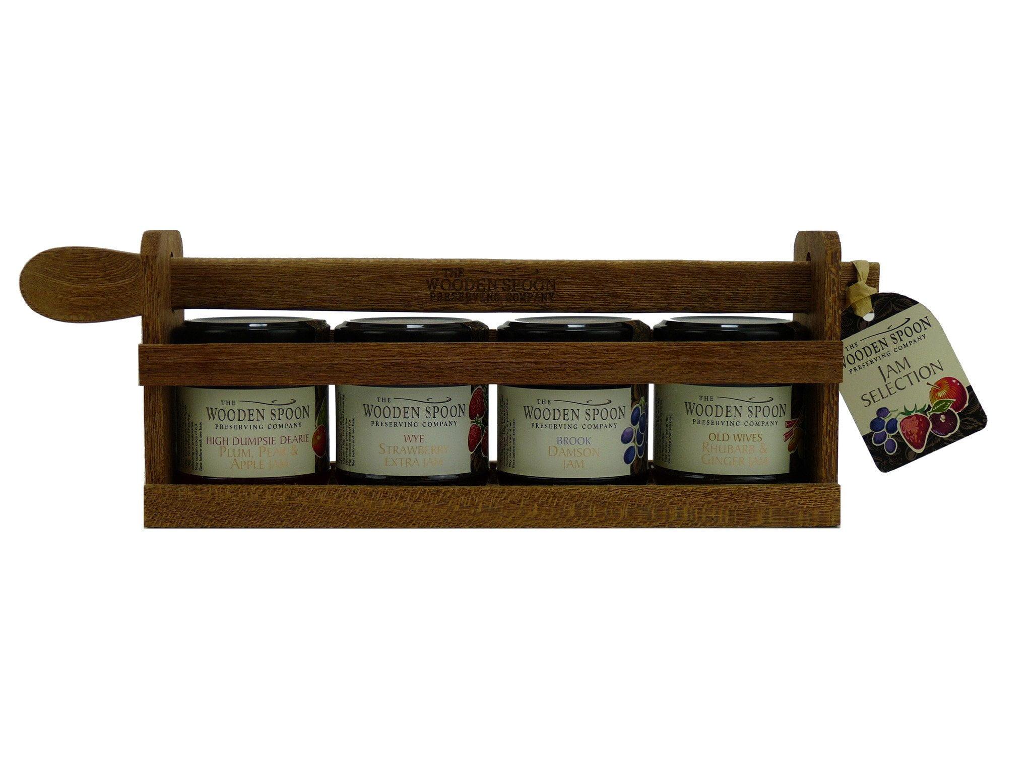 Jam Selection: Plum Pear & Apple Jam, Damson Extra Jam, Wye Strawberry Extra, Rhubarb & Ginger Extra Jam 4 x 113g