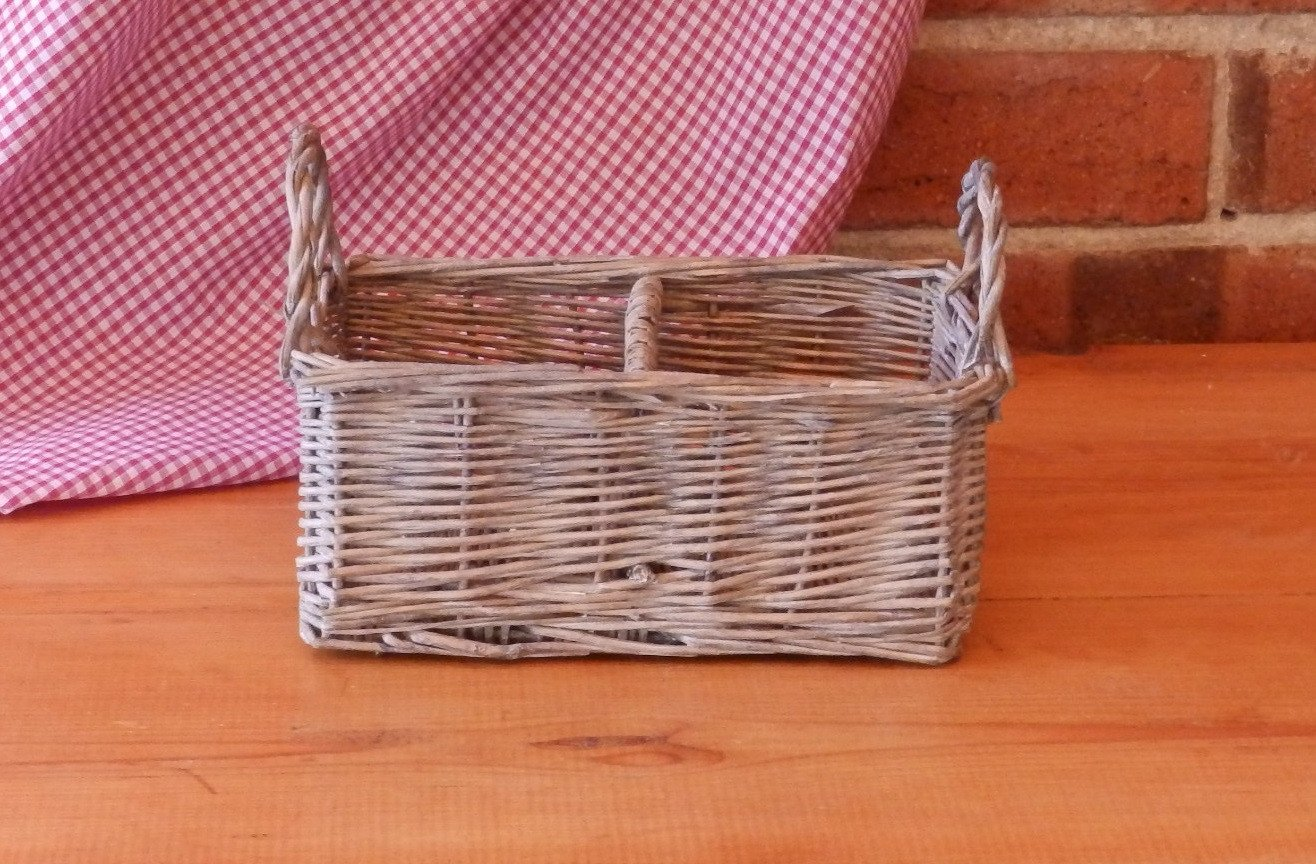 Wicker Basket with a divider and handles