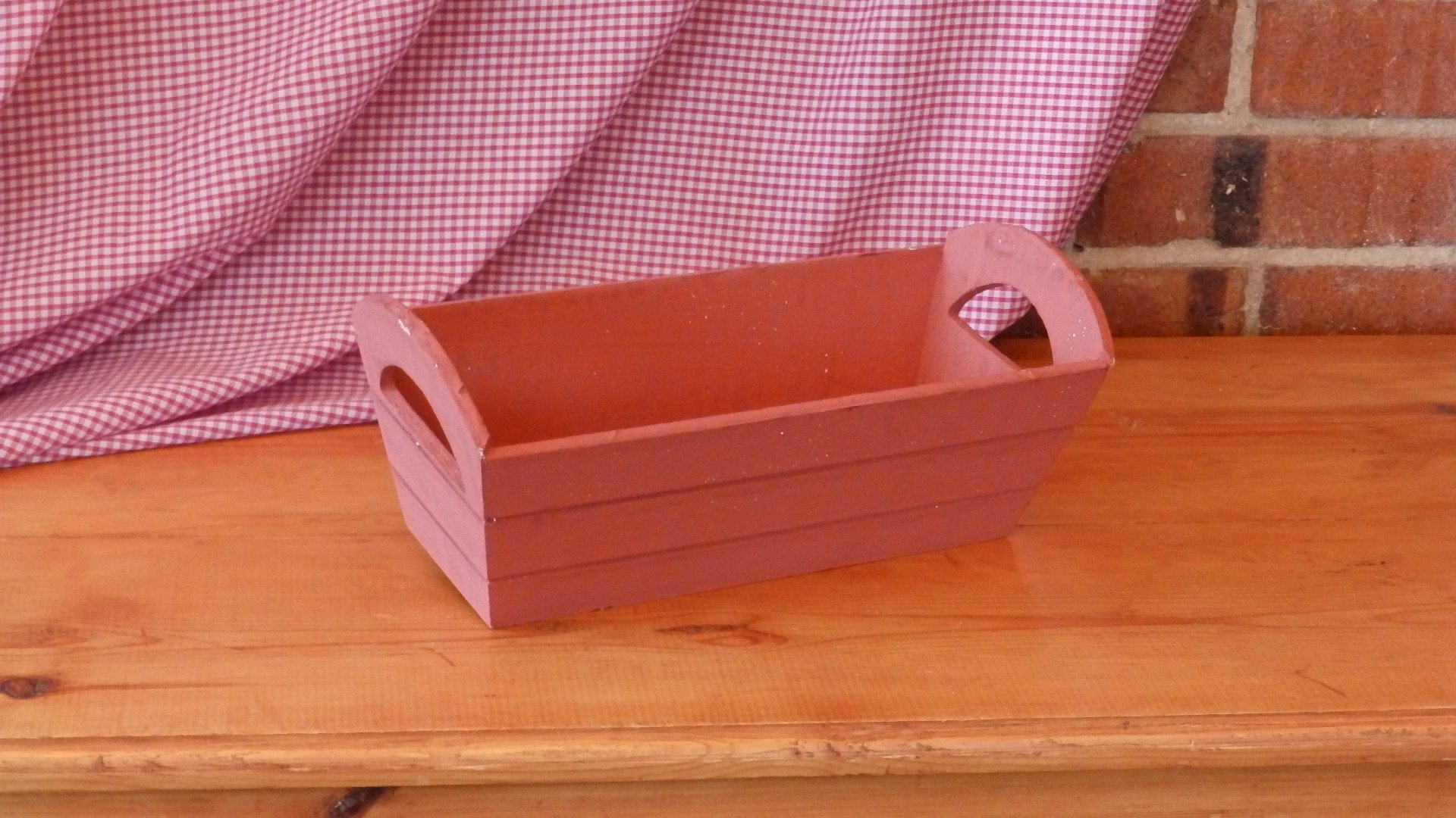 Red Wooden Tray with Handles