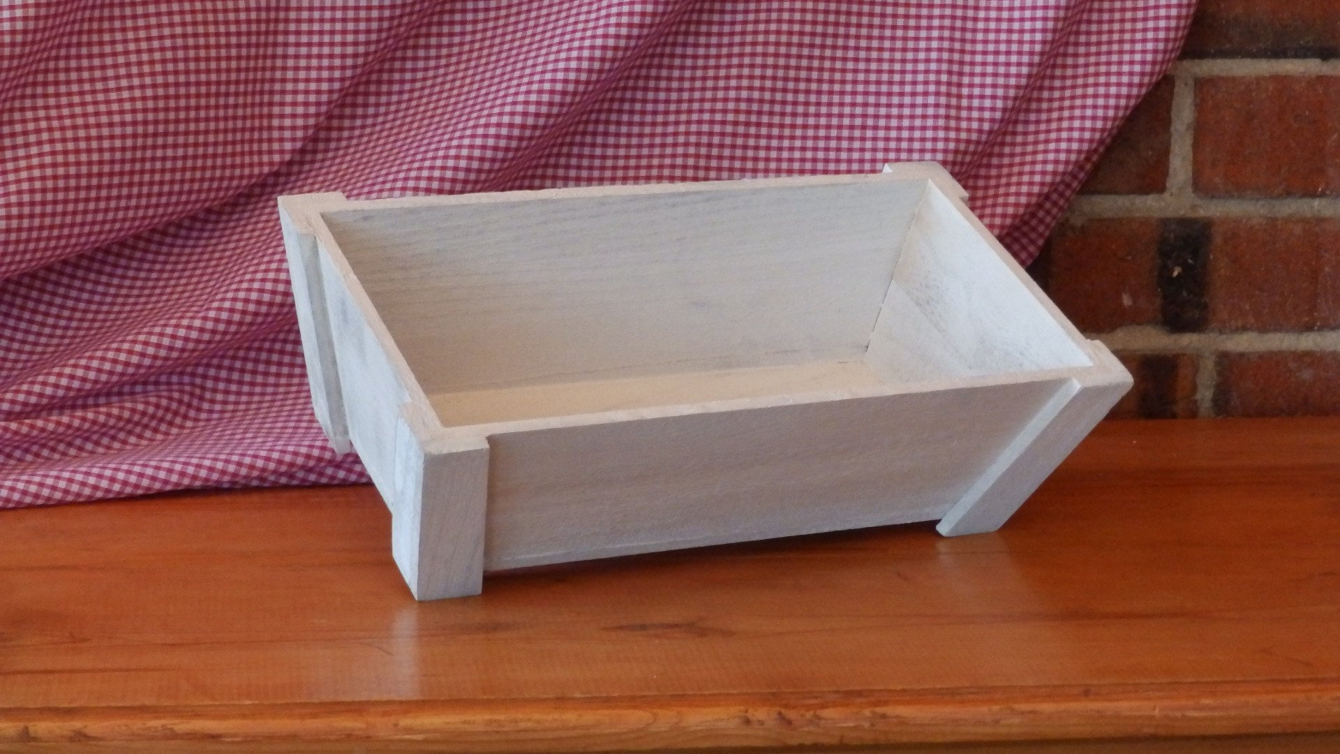 White Wooden Tray with Corner Posts