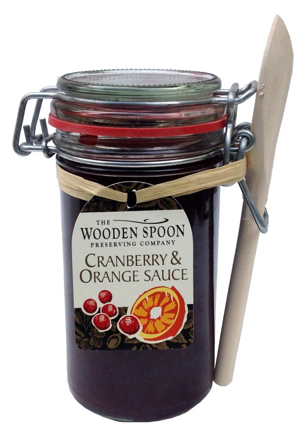 Cranberry & Orange Sauce Kilner with Wooden Spoon 300g.